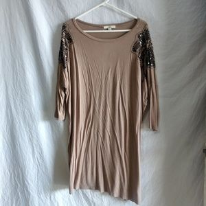 Ya los angeles tan dress with beaded floral sz Med